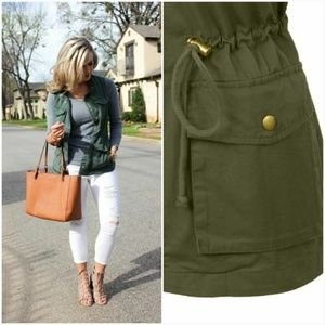 ultrachicfashion.com Jackets & Coats - Olive Green Hooded Utility Vest